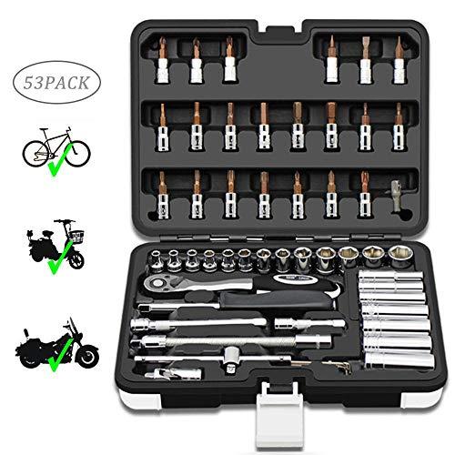 Volwco Ratschenschlüssel-Set SAE-1/4 Zoll Ratschenschlüssel-Set mit Inbusschlüssel,Treiberbits,Steckschlüssel-Set für Fahrrad-/Motor-/Auto-Reparatur-Werkzeuge (53 Stück)