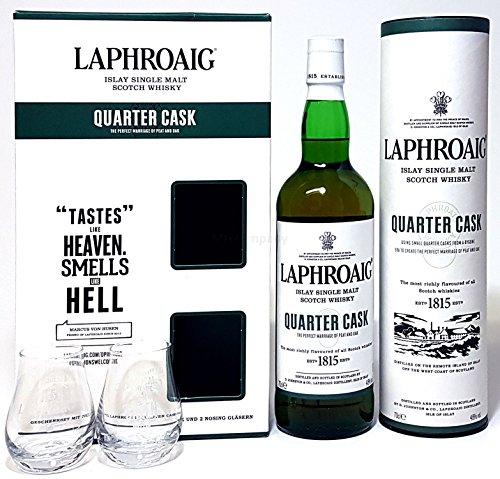 Laphroaig Geschenkset - Laphroaig Islay Scotch Whisky Quater Cask 70cl (48% Vol) + 2x Nosing Gläser