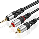 TNP Gold Plated 3.5mm To RCA Audio Cable (6 Feet) Bi-Directional Male To Male Converter AUX Auxiliary Headphone Jack Plug Y Adapter Splitter To Left / Right Stereo 2RCA Connector Wire Cord