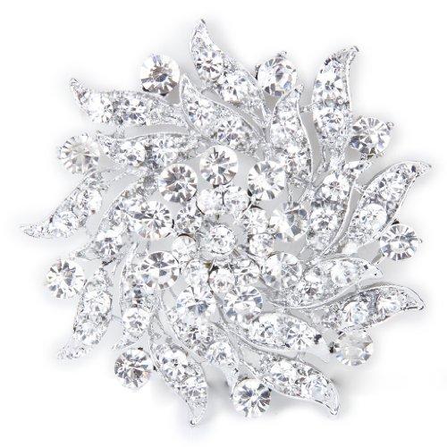 Ramo-De-Flores-Broche-Pin-Pasador-Cristal-Diamante-Imitacion-Para-Novia-Boda
