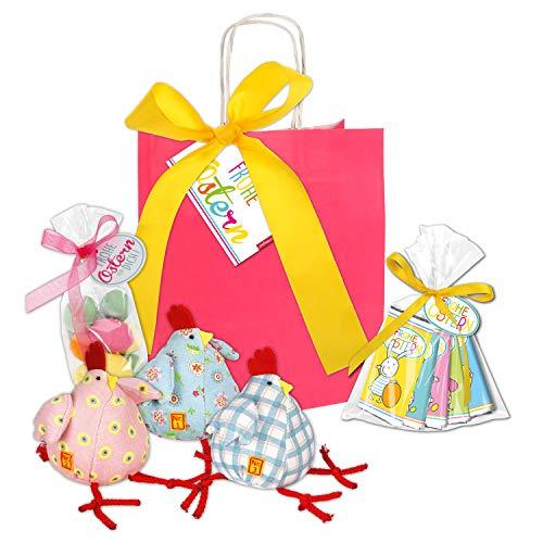 Ostern Geschenkset STEINBECK Vollmilch Mini Schokolade Tafel Osternest Osterhase Ostereier Geschenktüte Geschenkkorb Hühner Kind