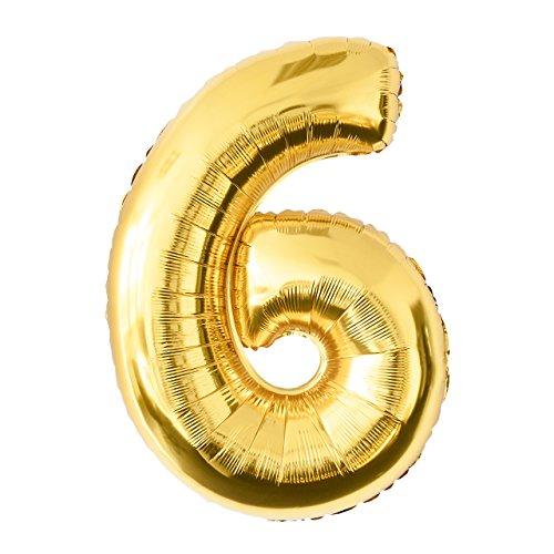 Globo de lámina 6 dorado Número enorme 100 cm rellenable con helio o aero fiesta de cumpleaños