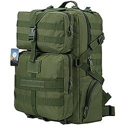 HUKOER Mochila Táctica Militar Impermeable -45L para Excursionismo Montañismo Senderismo y viaje al aire libre Macuto Militar y deportiva de alta calidad (Verde militar-45L)