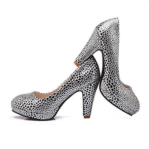 AllhqFashion Damen Rund Zehe Ziehen Auf Pu Leder Gemischte Farbe Hoher Absatz Pumps Schuhe Weiß