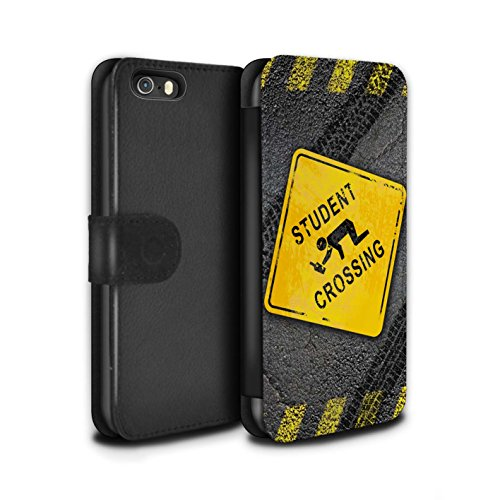 STUFF4 PU-Leder Hülle/Case/Tasche/Cover für Apple iPhone SE / Pack 10pcs Muster / Lustige Wegweiser Kollektion Studenten