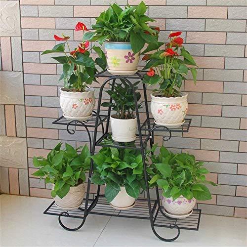 Meubles de salon modernes Rack de fer en métal / support 7 rangées de plantes Présentoir fleur Salon Balcon intérieur et extérieur (taille: 83 * 25 * 83cm) (couleur: noir) ( Couleur : Black )