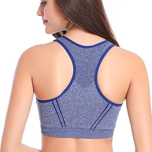 Ancdream Soutien-Gorge Sport Yoga Bandeau Sans Armature Bra Lingerie Sexy Femme Bleu