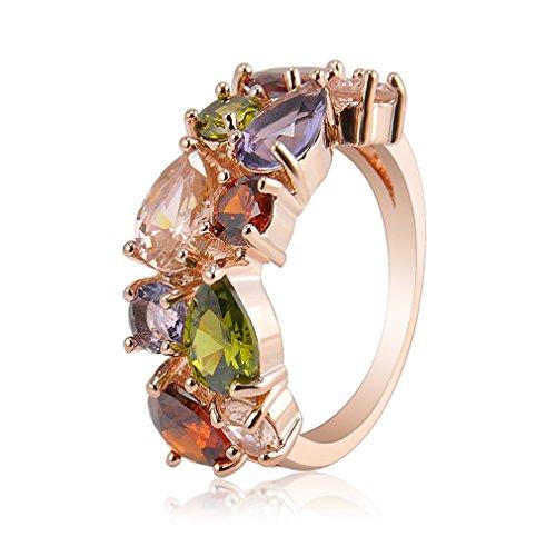 Sorella'z Womens Rose Gold Zircon Crystal Ring