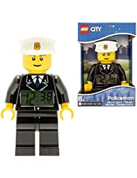 LEGO City 9002274 Sveglia retroilluminata per bambini minifigure poliziotto | plastica | 24 cm di altezza | Schermo LCD | nero/bianco | per i bambini | ragazza/ragazzo
