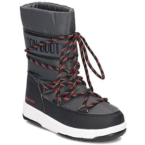 Moon-boot Jungen We JR Boy Sport WP Schneestiefel, Grigio (Black/Castlerock 005), 37 EU