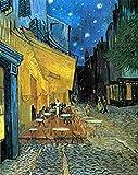 wieco Art–Cafe Terrasse bei Nacht von Vincent Van Gogh Öl Gemälde Reproduktion, Leinwand Prints Giclée Kunstwerk für Wanddekoration, gespannt und gerahmt Art Arbeit, moderner Leinwand Kunst für Zuhause und Büro Dekoration Landschaft Bild Kunstdruck auf Leinwand Art V006012by 40,6cm
