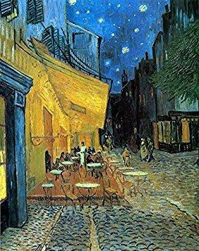wieco Art–Cafe Terrasse bei Nacht von Vincent Van Gogh Öl Gemälde Reproduktion, Leinwand Prints Giclée Kunstwerk für Wanddekoration, gespannt und gerahmt Art Arbeit, moderner Leinwand Kunst für Zuhause und Büro Dekoration Landschaft Bild Kunstdruck auf Leinwand Art V006012by 40,6cm (Fantasy Cafe)