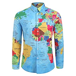 Fenverk T-Shirt Herren Langarm Slim Fit Hemden Persönlichkeit Oberteile Knopf Top Freizeithemd Holzfällerhemd Mode Langarm Hemden Männer Pullover Sweatshirts(Mehrfarbig I,XL)