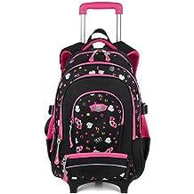 Zaino Scuola Trolley,Coofit Trolley Scuola Grande Capacità Multi-Funzione per Bambina