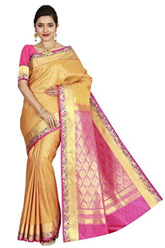 arars Women's Kanchipuram Silk Saree Wedding Bridal Collections ( 210 MB MUSTARD...