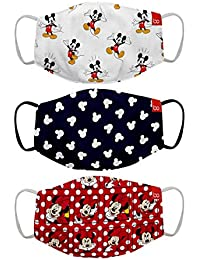 Bon Organik Mickey & Friends (OFFICIAL MERCHANDISE) 2 Ply Printed Cotton Cloth Face Mask Bundle For Kids (Set Of 3) (4-8Y)