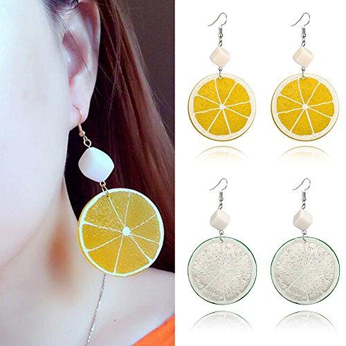 Sanwood Schöne Süße Frucht Ohrringe Zitrone Orange Orange übertrieben Acryl Nagel Ohrringe Schmuck Party Geschenk Grün