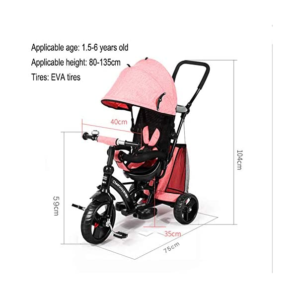GSDZSY - Baby Tricycle Trike Stroller First Bike,3 In1 With Adjustable Push Handle Bar, 1.5-6 Years Old,Black GSDZSY  2