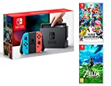 Nintendo Switch Rouge/Bleu Néon 32Go + Super Smash Bros: Ultimate + Zelda: Breath of the Wild