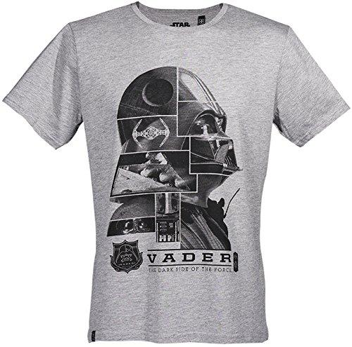 GOZOO Star Wars Classic T-Shirt Herren Vader - Dark Side of The Force Grau M (Wars-t-shirts Classic Star)