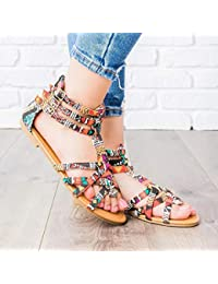 5a872051c51 Voiks Bohemian Sandals Low Summer Gladiator Roman Colorful Beach Shoes 36-42