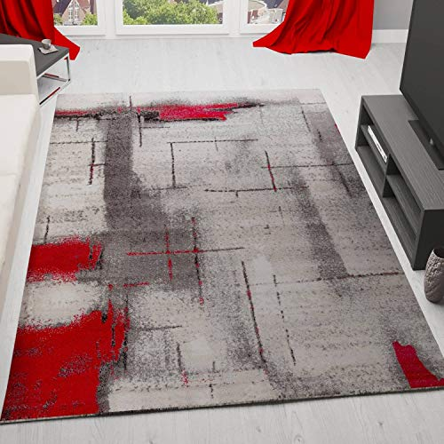 VIMODA Teppich Modern Designer Abstrakt Meliert Farbe Rot Grau 80x150 cm - Abstrakt-modern-teppich
