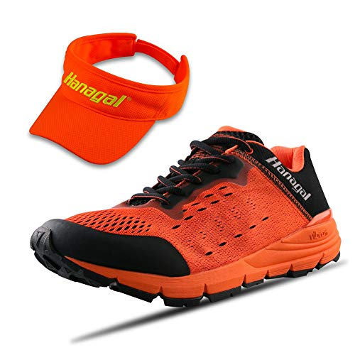 Hanagal Men's Kenting Hiking Shoe, Trail and Road Running Shoe with Visor  Hat Orange Size: 7 5 M US