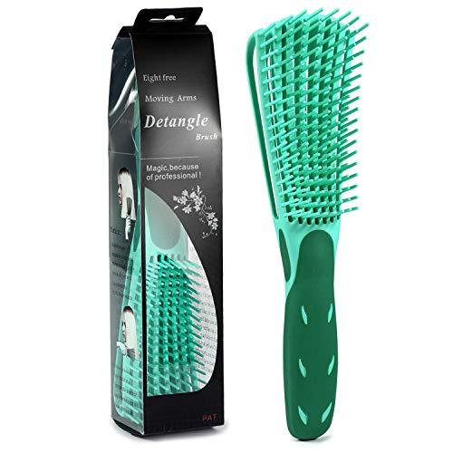 BESTOOL Haarbürste Entwirrungsbürste für Naturhaar für Afro-Haare 3a bis 4c Verworrenes, Welliges, Lockiges Haar, Entwirrer leicht mit Nass/Trocken, Verbesserung der Haartextur (Grün)