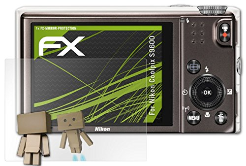 Nikon Coolpix S9600 Spiegelfolie - atFoliX FX-Mirror Displayschutz mit Spiegeleffekt