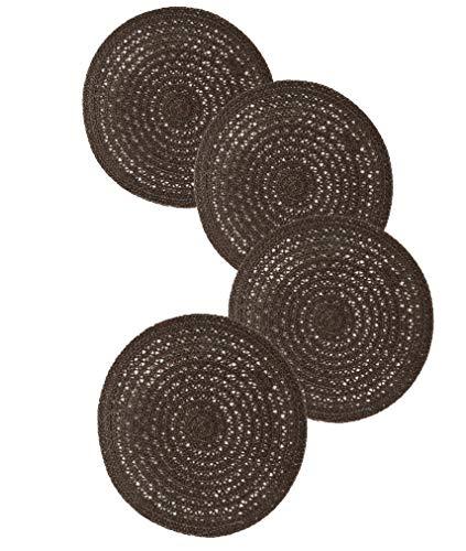 Famibay Lot de 4 sets de table ronds tissés antidérapants en corde de chanvre résistant à la chaleur