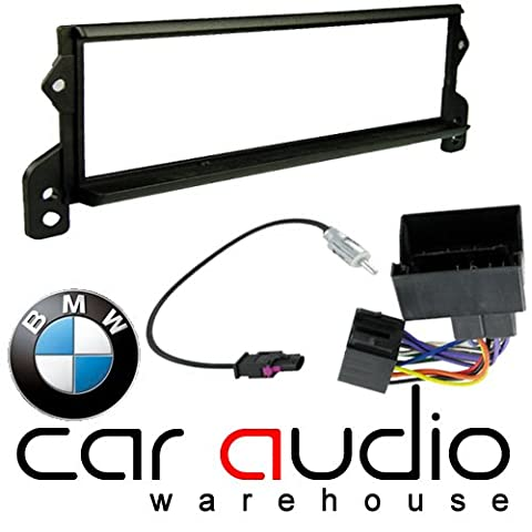 BMW Mini 2001 - 2006 Car Audio Stereo Replacement Full Facia and Iso Fitting Kit. Includes Black Single DIN Facia Adaptor Radio ISO and Fakra Aerial