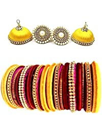 Pink And Orange Colour Silk Thread Bangles With Matching Earrings