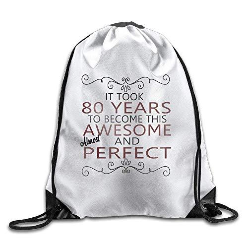 gthytjhv 80th Years Old Gift,Ladies Kordelzugbeutel,Bundle Pack,Shoulder Bags Lightweight Unique 16.9x14.2