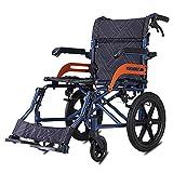 ACEDA Faltbarer Rollstuhl Mit Rutschfest Armlehnen,10Kg Leichter Dicker Stahl,Transportrollstuhl Reiserollstuhl,Zu Öffnender Handlauf,Sitzbreite 46Cm,Belastbarkeit 100Kg