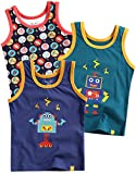 Vaenait baby 86-122 Jungen Kinder Unterhemd 3-Packung Top Undershirts Set Blue Raser Robot S