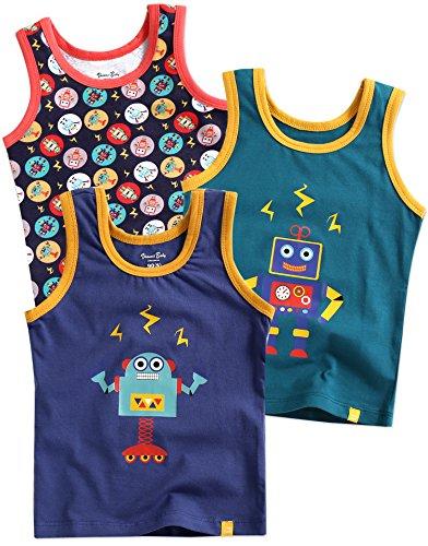 Vaenait baby 86-122 Jungen Kinder Unterhemd 3-Packung Top Undershirts Set Blue Raser Robot XL -
