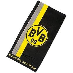 Borussia Dortmund–Toalla de playa con logo/rayas, algodón, negro/amarillo, 150x 75x 1cm