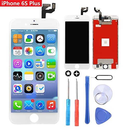 GULEEK LCD 3D Touchscreen Digitizer Rahmenmontage Vollen Satz Bildschirm Ersatz mit Tools für iPhone 6S Plus 5,5 Zoll Weiß