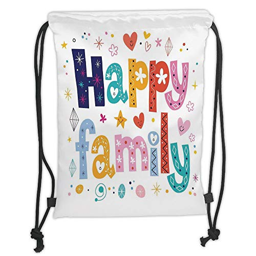 Juzijiang Drawstring Sack Backpacks Bags,Family,Happy Family Letters with Flowers Hearts Stars Dots Circles Cartoon Like Artwork,Multicolor Soft Satin Closure,5 Liter Capacity,Adjustable.