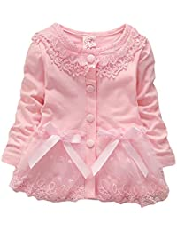 JUNG KOOK Baby Girls Spring Autumn Baby Lace Casual Coat Jackets Cardigan 2-3Years Pink