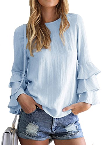 womens-sexy-casual-loose-o-neck-long-ruffle-sleeve-solid-tops-blouse-t-shirt-xl-blue