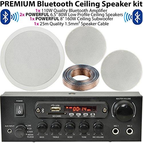 Low Profile Deckenleuchte Lautsprecher & 160W Deckenleuchte Subwoofer/Sub System–Bluetooth/Wireless Home Cinema Audio-Hifi-Verstärker–Bar/Restaurant 2.1Surround Sound, Cablefinder