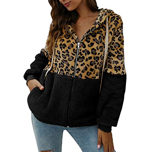 ➤Refill➤ Damen Leopard Mantel mit Kapuze I Warmer Wintermantel Teddy-Fleece Mantel | Kuscheliger Langer Fleecemantel mit hohem Kragen