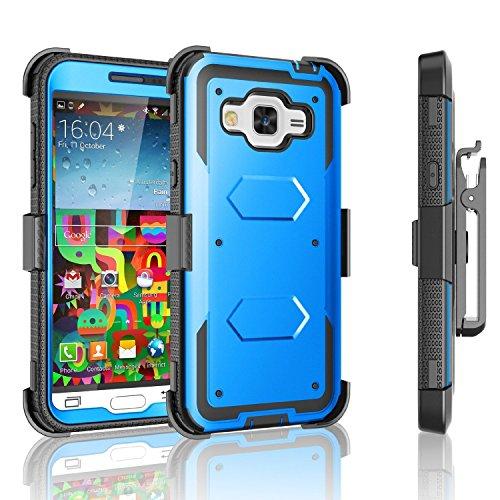 Samsung Galaxy J32016[Bildschirm Integrierter] Holster Gürtelclip Defender Schutzhülle mit ausklappbarem Ständer Samsung Galaxy 3 Sprint Freigeschaltet