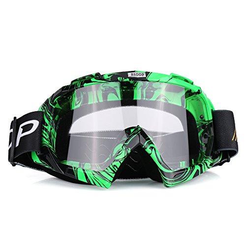 Qiilu Lunettes de Protection de Yeux Visage Anti-UV Anti-brouillard Anti-sable Anti-poussière lunette pour Activité Moto Cross Google VTT Vélo Snowboard Ski Snowboard Cyclismes (Film blanc vert)
