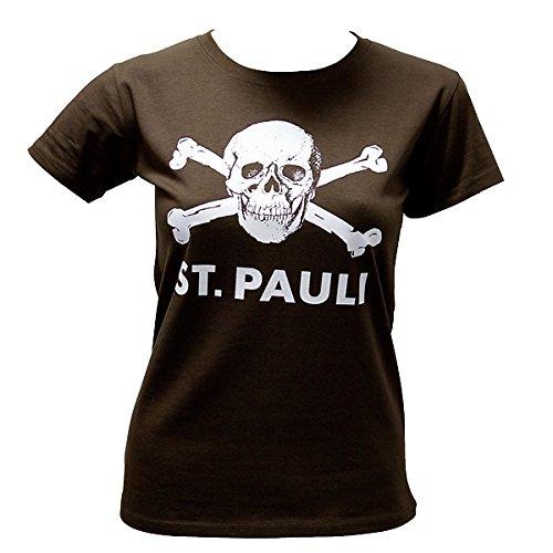 FC St. Pauli Damen Girly T-Shirt Totenkopf groß braun (M)