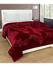 Livingcreation Floral Embossed Mink Double Bed Blanket for Heavy Winters