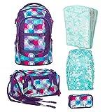 Satch PACK Hurly Pearly 5er Set Schulrucksack + Schlamperbox + Sporttasche + Triple Flex + Regencape mint