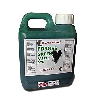 Carbusonic Fabric Dye liquid Green, Clothes, Denim, bags,Spray, Dip, Batik, 1 litre