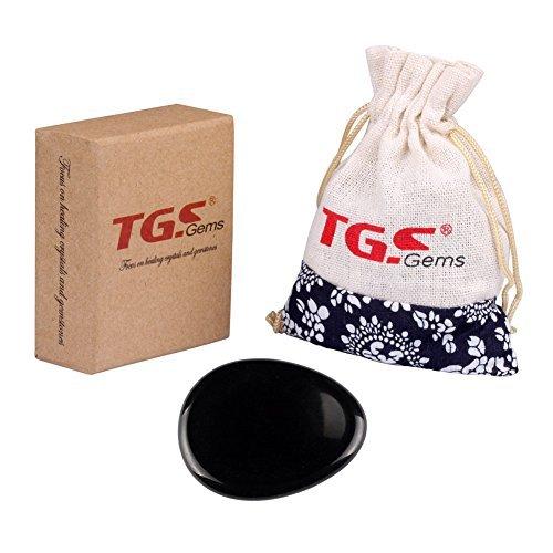 TGS Gems® Obsidiana Negra tallada irlandés Worry Piedra libre de cristal de curación (se venden por 1pieza